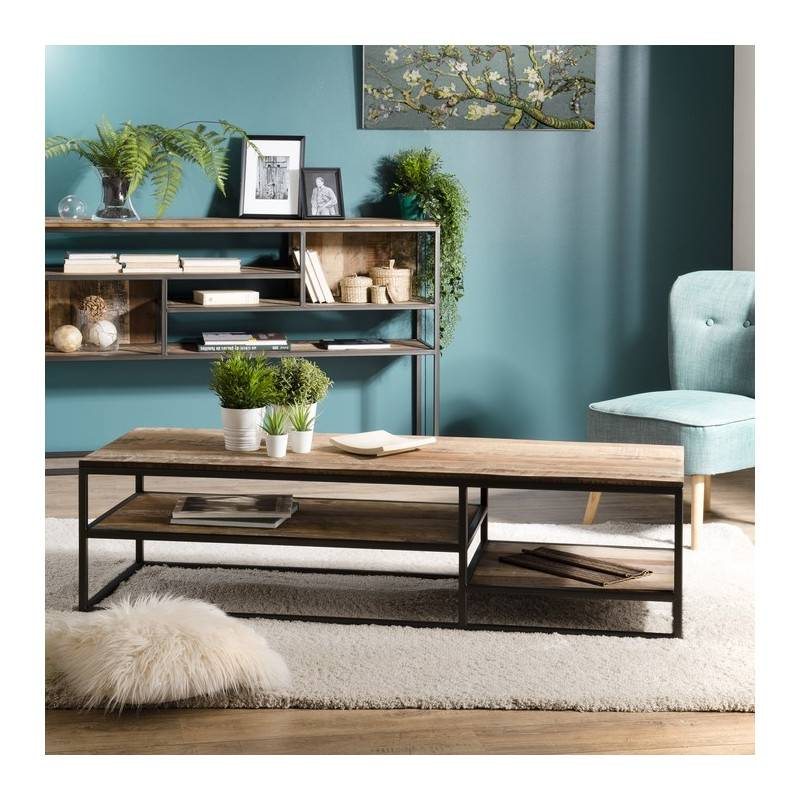 SO INSIDE Table basse rectangulaire design industriel 150x50cm Tinesixe