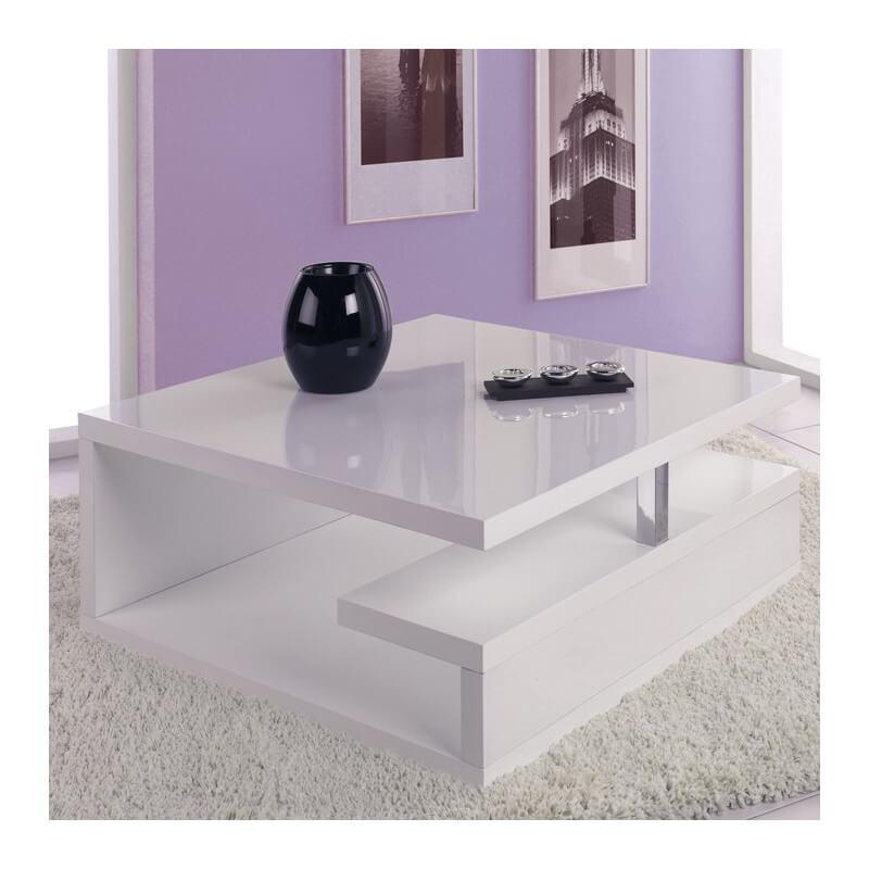 SO INSIDE Table basse sur roulettes laquée blanc Giani