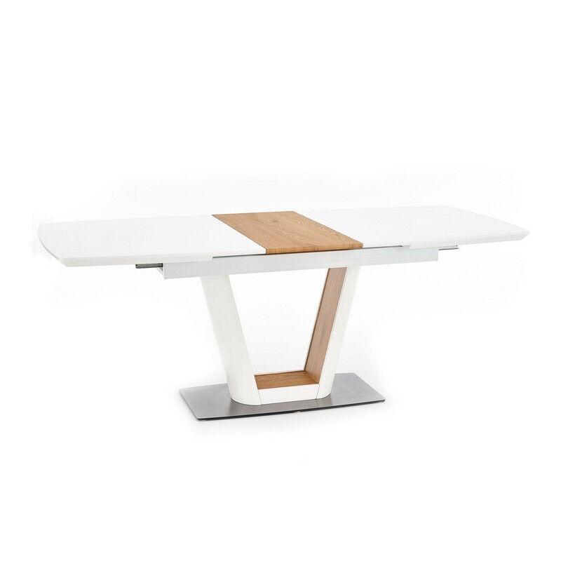 SO INSIDE Table a manger design blanche et bois avec rallonge Solly