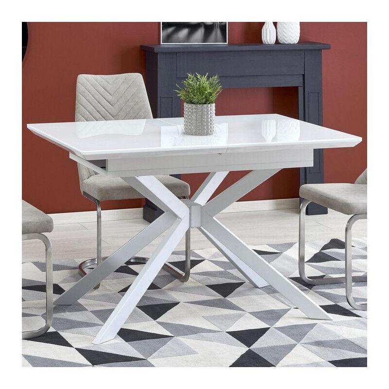 SO INSIDE Table rectangulaire extensible blanche verre et acier Happy