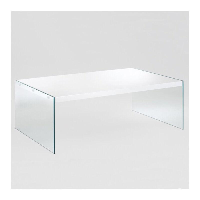 SO INSIDE Table basse rectangulaire en verre + blanc laqué Athena