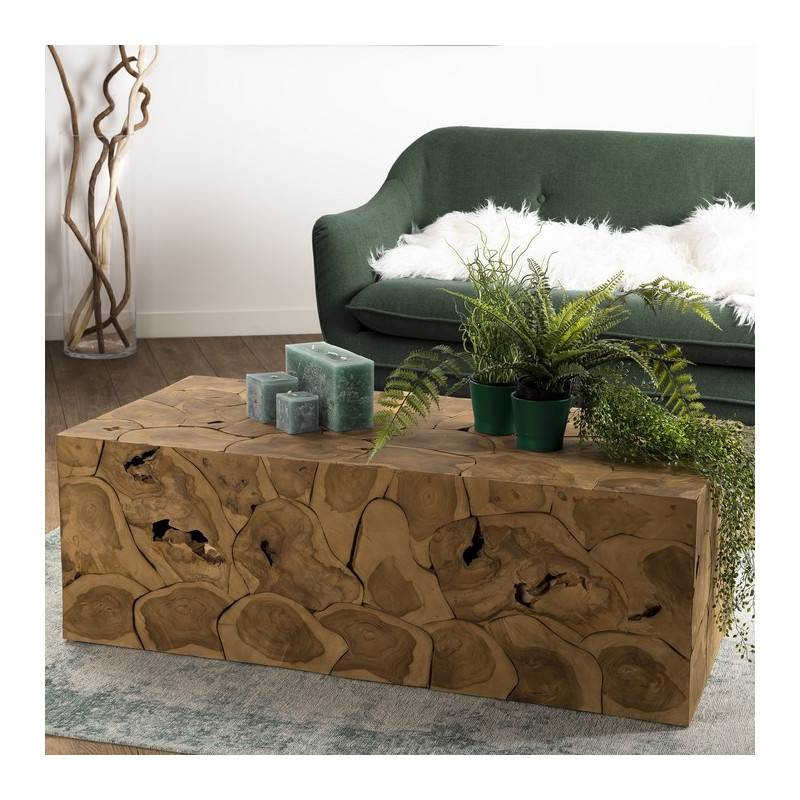 SO INSIDE Table basse nature rectangulaire 120 x 60 cm en teck Forest