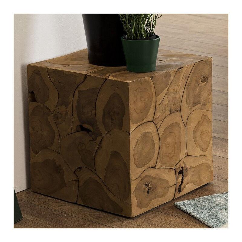 SO INSIDE Table d'appoint en forme de cube 40x40 cm en teck Forest