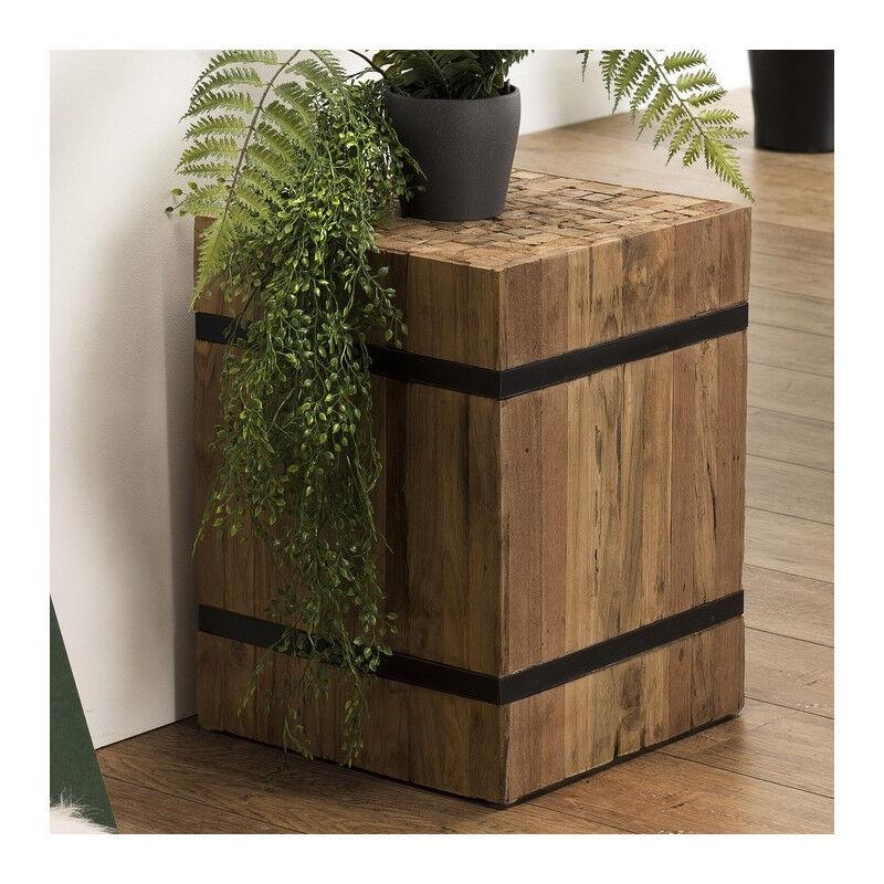 SO INSIDE Table d'appoint carrée hauteur 46 cm en teck recyclé cerclée de métal Forest