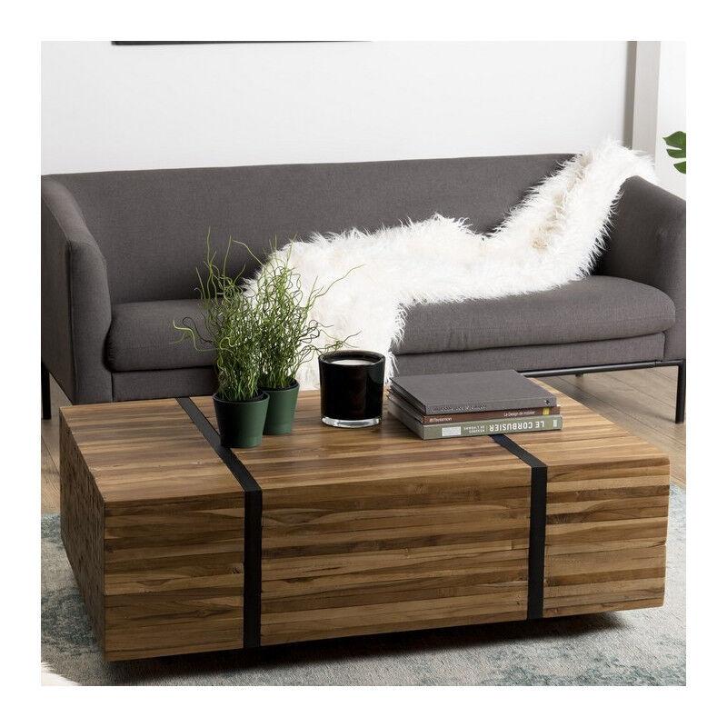 SO INSIDE Table basse 110x70 cm avec roulettes en teck recyclé cerclée métal Forest