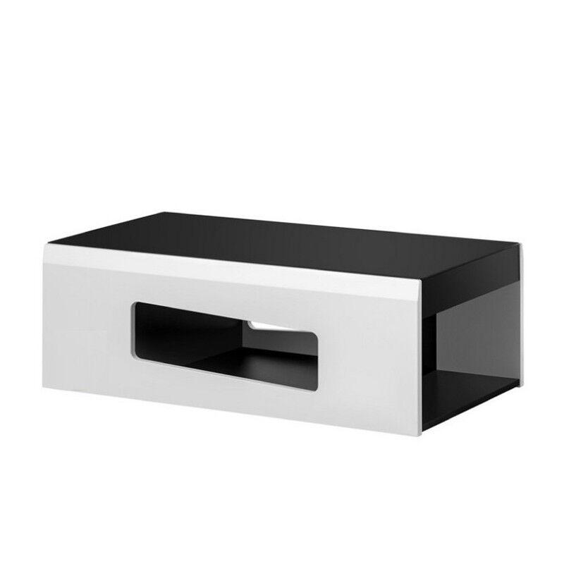 SO INSIDE Table basse blanche et noire avec dessus en verre BRIGHT