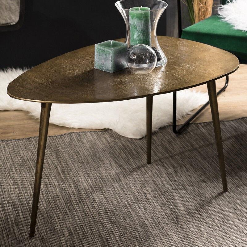 SO INSIDE Table basse goutte d'eau en aluminium doré ELEGANCE