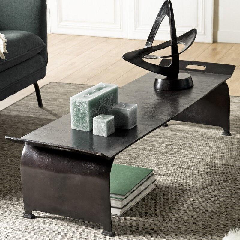 SO INSIDE Table de salon rectangulaire 134x40 cm en aluminium noir ELEGANCE
