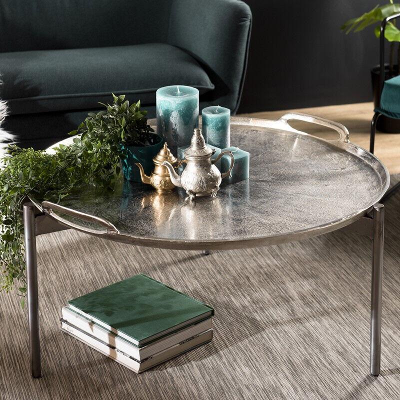 SO INSIDE Table basse orientale ronde en alu argenté et trépied ELEGANCE