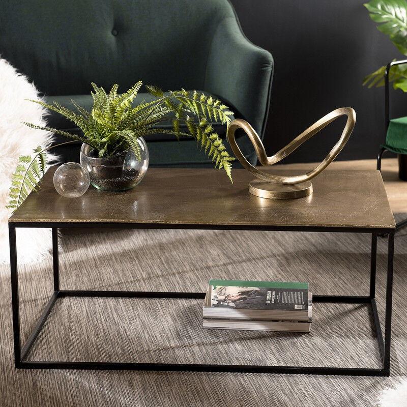 SO INSIDE Table basse rectangulaire 98x57 cm en alu doré et pieds en métal noir ELEGANCE