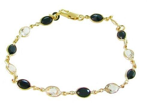 superbijoux Bracelet femme enfant orné de cz cristal et noir plaqué or -18cm