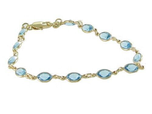 superbijoux Bracelet femme enfant orné de cz aigue marine plaqué or -18cm