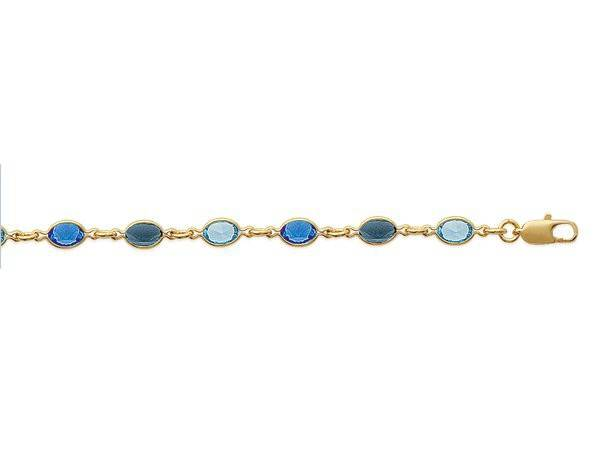 superbijoux Bracelet femme enfant orné de cz 3 bleus en plaqué or - 18cm