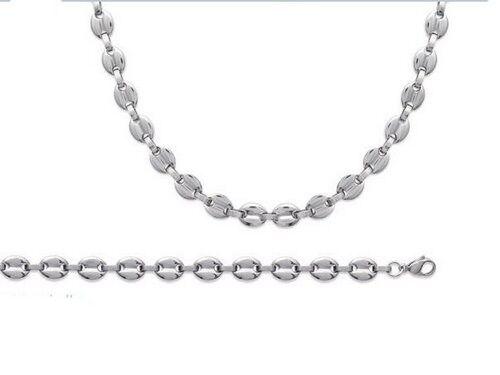 superbijoux Parure homme grosse maille grain de café en acier :bracelet + collier