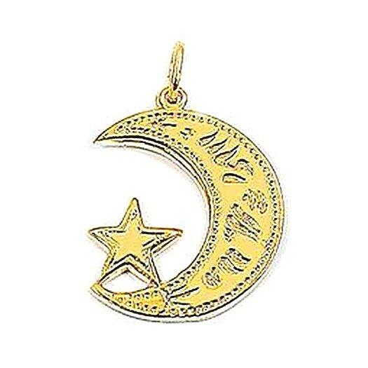 superbijoux Pendentif Croissant et étoile Islam plaqué or + chaîne