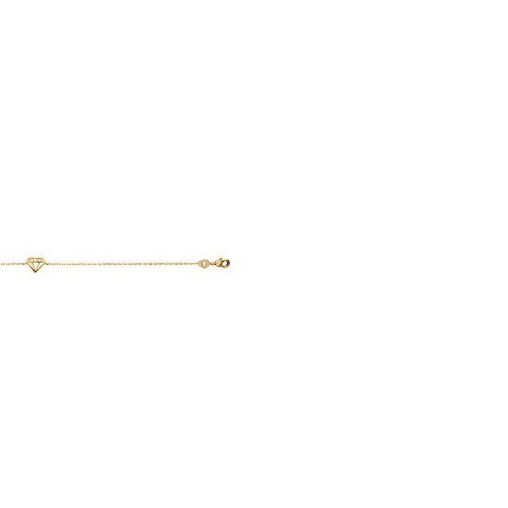 superbijoux Bracelet femme enfant avec breloque diamant en plaqué or -  18cm