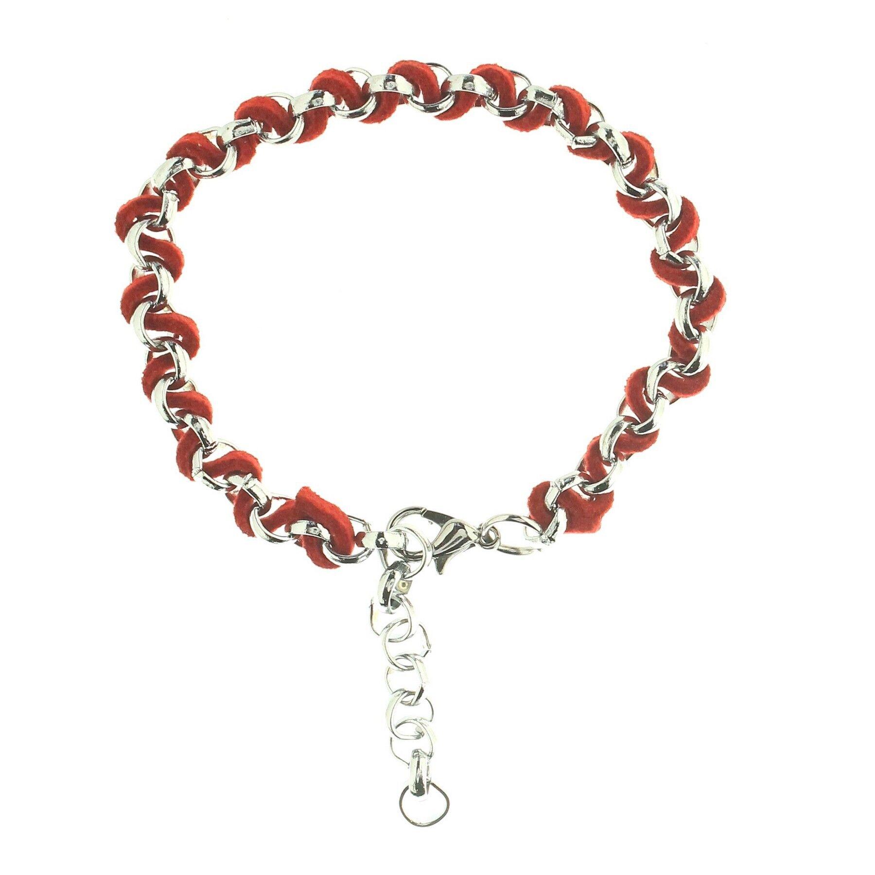 superbijoux Bracelet fantaisie homme femme enfant torsadé suédine rouge et acier