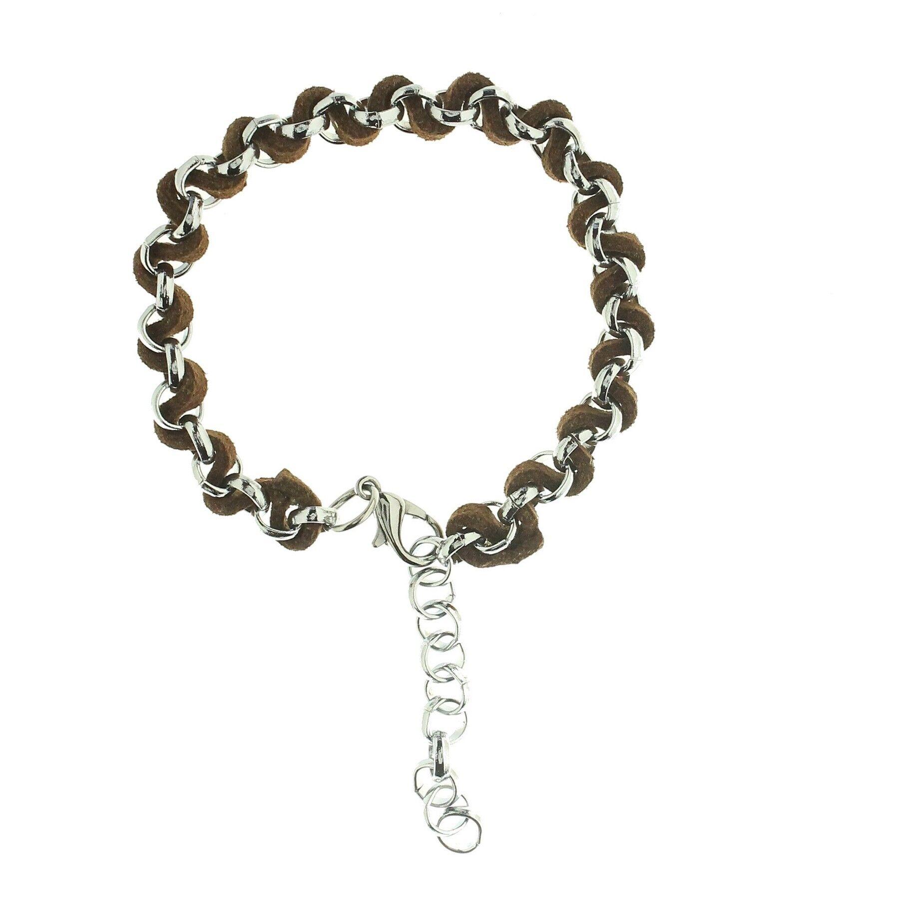 superbijoux Bracelet fantaisie homme femme enfant torsadé suédine marron et acier
