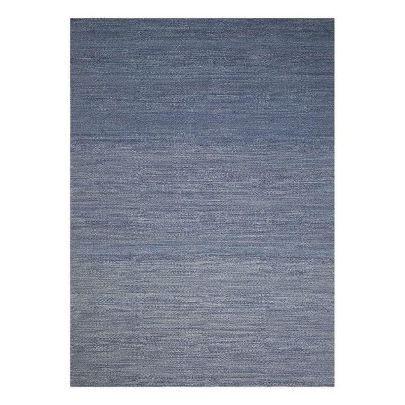 Pure Tapis moderne bleu laine Flatweave Ligne Pure