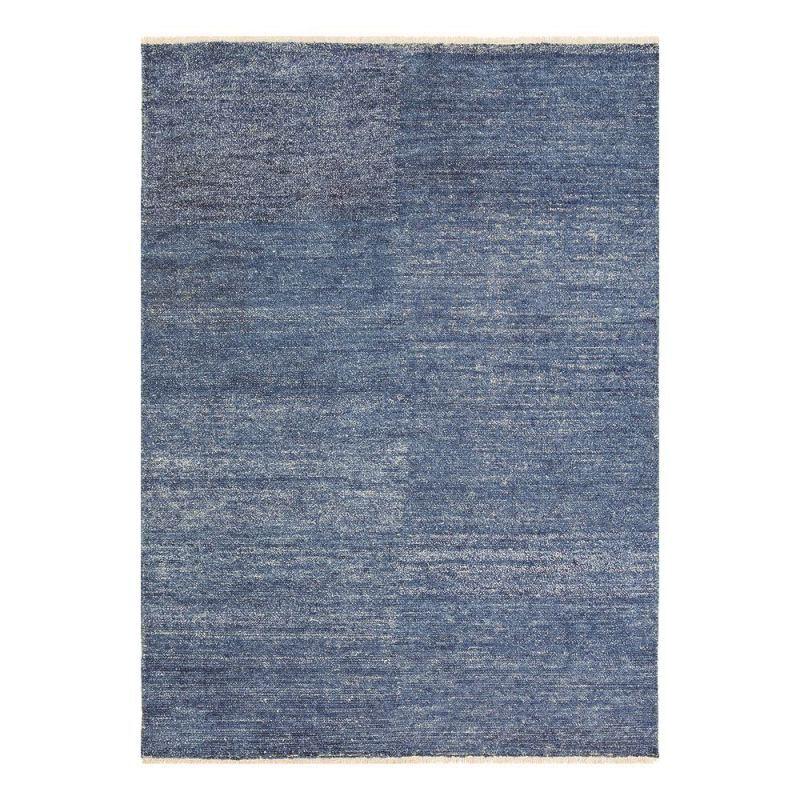 Pure Tapis moderne bleu viscose Uni Ligne Pure