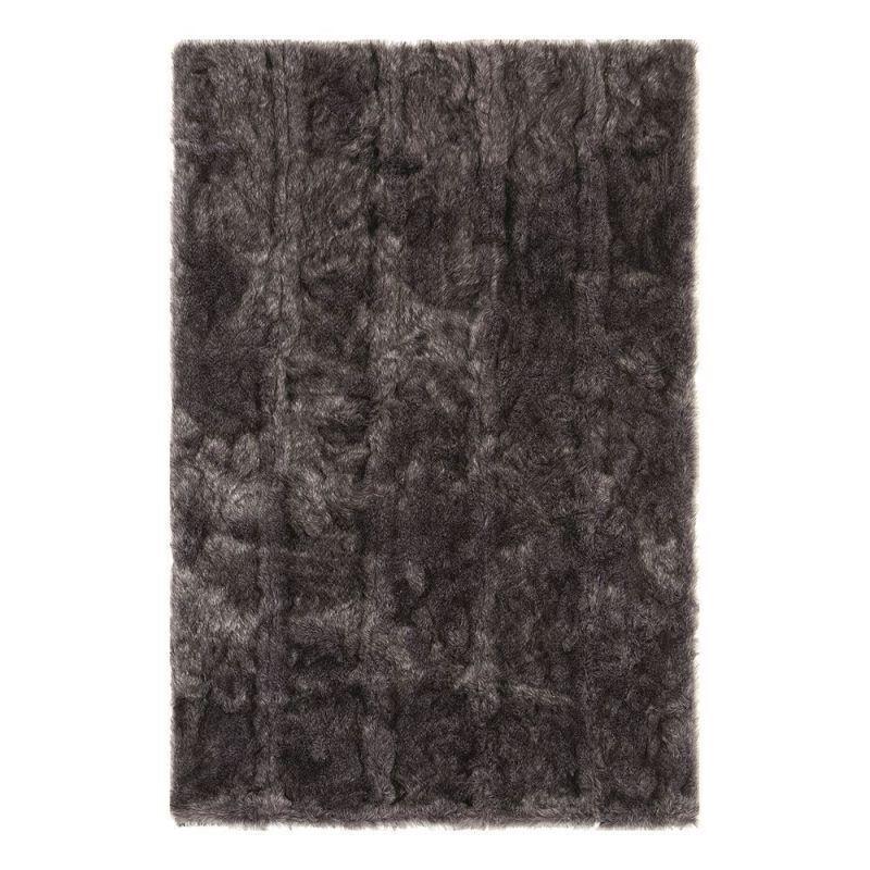 Pure Tapis shaggy uni noir Ligne Pure Pelle