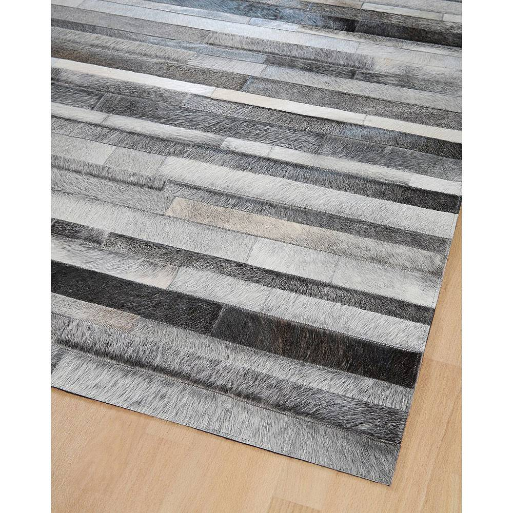Home Spirit Tapis en patchwork de cuir gris JACOB Home Spirit
