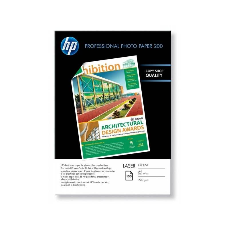 HP Papier photo A4 brillant laser professionnel HP - 100 feuilles - 200 gr - Finition brillante