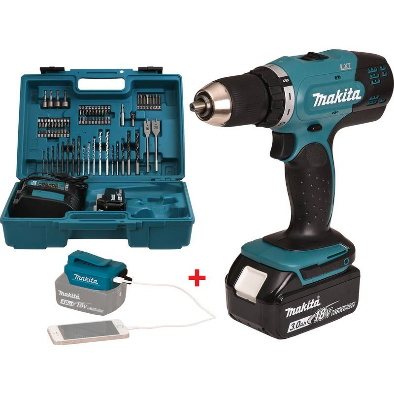 Makita Perceuse visseuse 18V Li-Ion Makita 2x 3Ah Ø 13mm