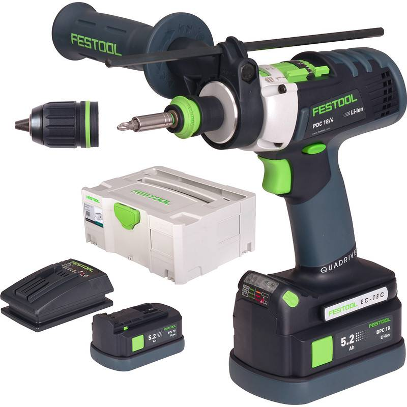 Festool Perceuse visseuse à percussion sans fil Festool PDC 18/4 Li 5,2-Plus Quadrive 18V Li-ion