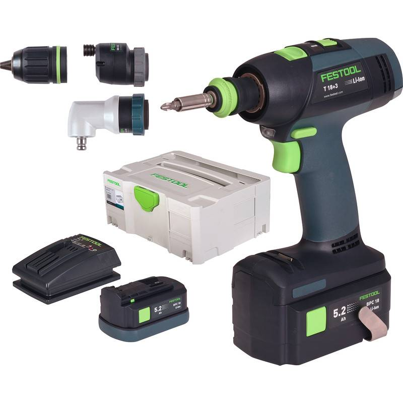 Festool Perceuse visseuse sans fil Festool T 18+3 Li 5,2- Set 18V Li-ion