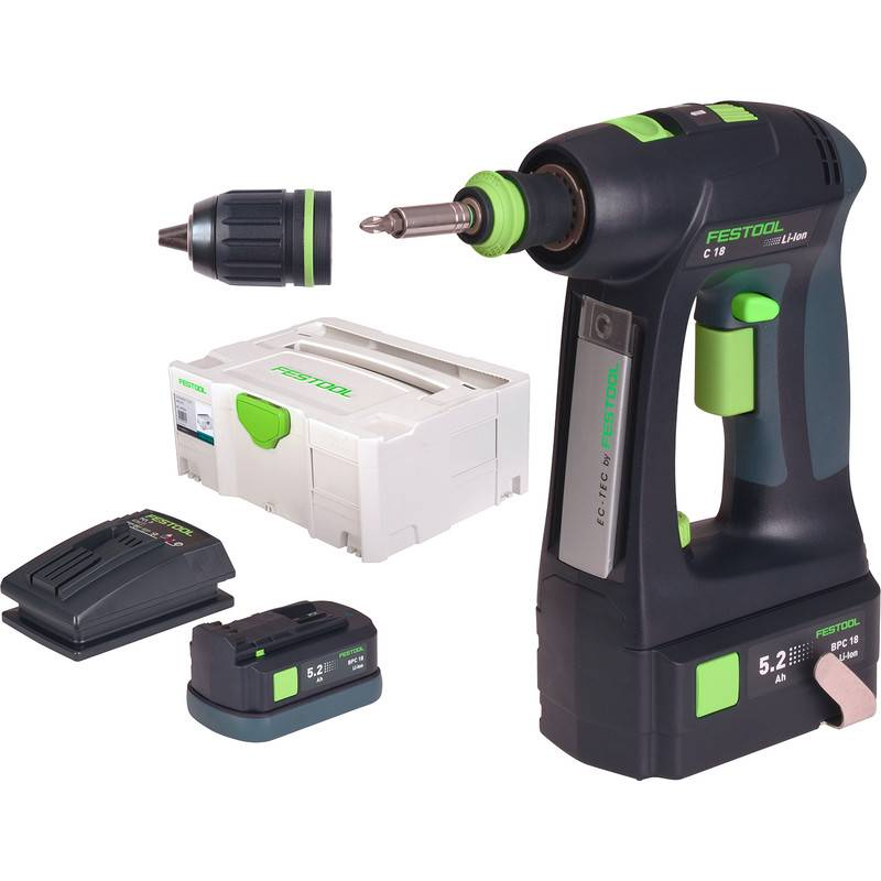Festool Perceuse visseuse sans fil Festool C18 Li 5,2 Plus 18V Li-ion