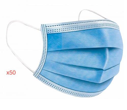 Sans marque Lot de 50 masques jetables - 3 Plis - Type 1 Norme EN 14683