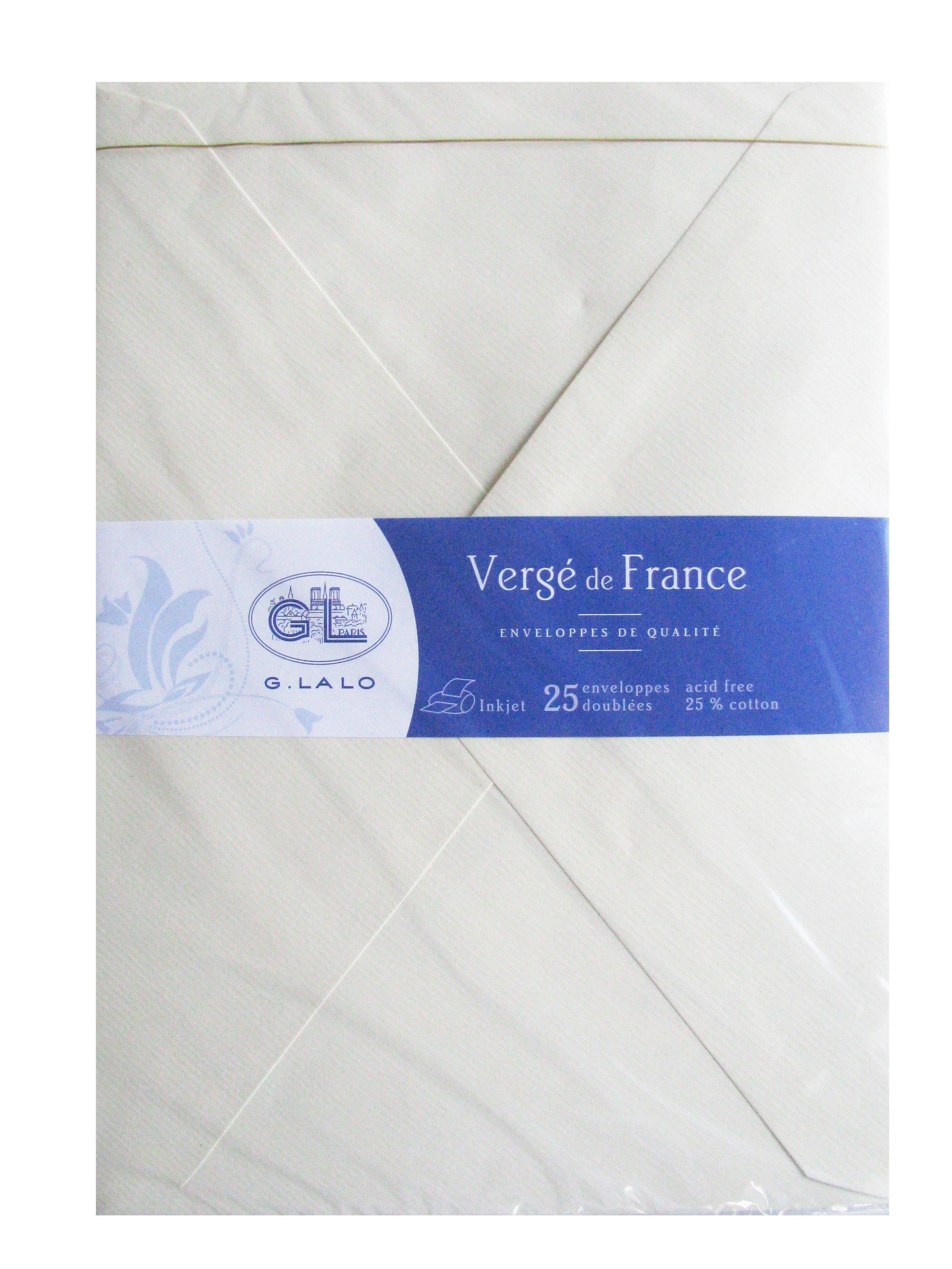 G.LALO 25 Enveloppes Doublées 162x229 mm Vergé de France Ivoire