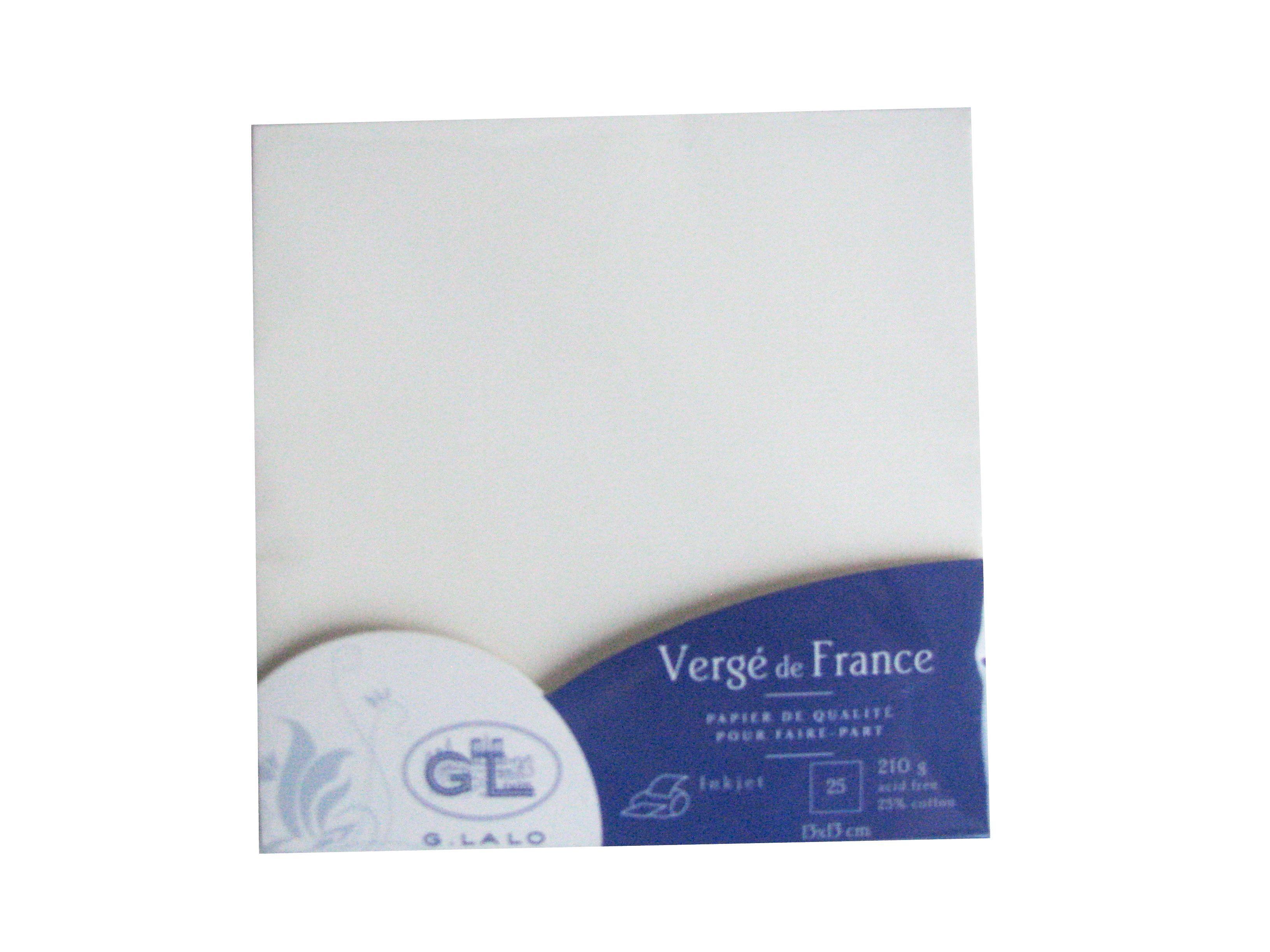 G.LALO 25 Cartes Vergé de France 135x135 mm 210g Blanc