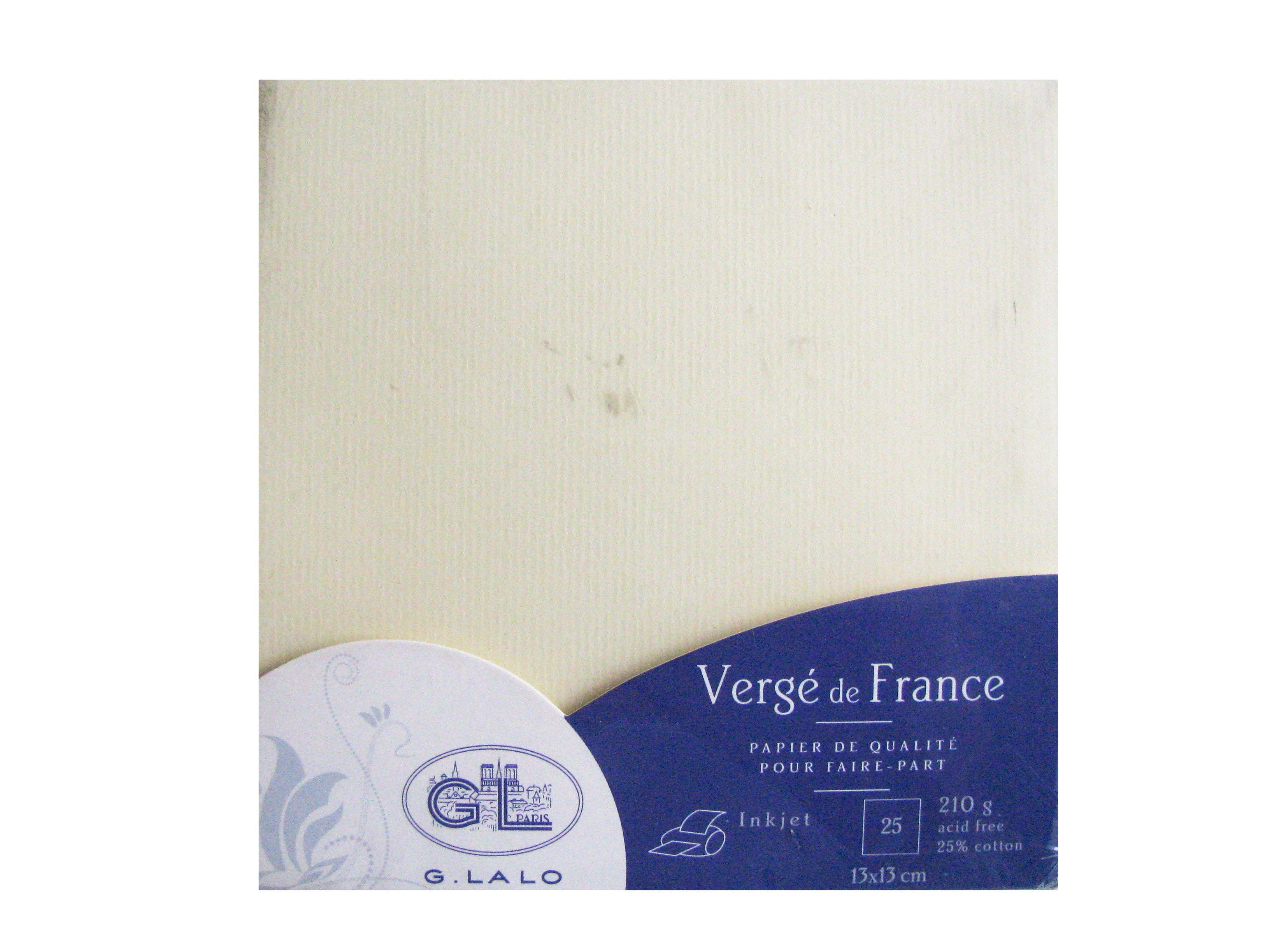 G.LALO 25 Cartes Vergé de France 135x135 mm 210g Ivoire