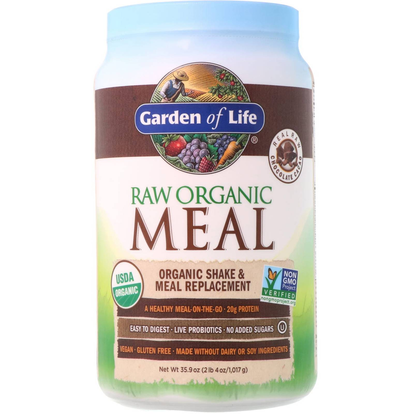 Garden of Life Raw Organic Meal- Shake & Meal Replacement Chocolate Cacao (1017 gram) - Garden of Life