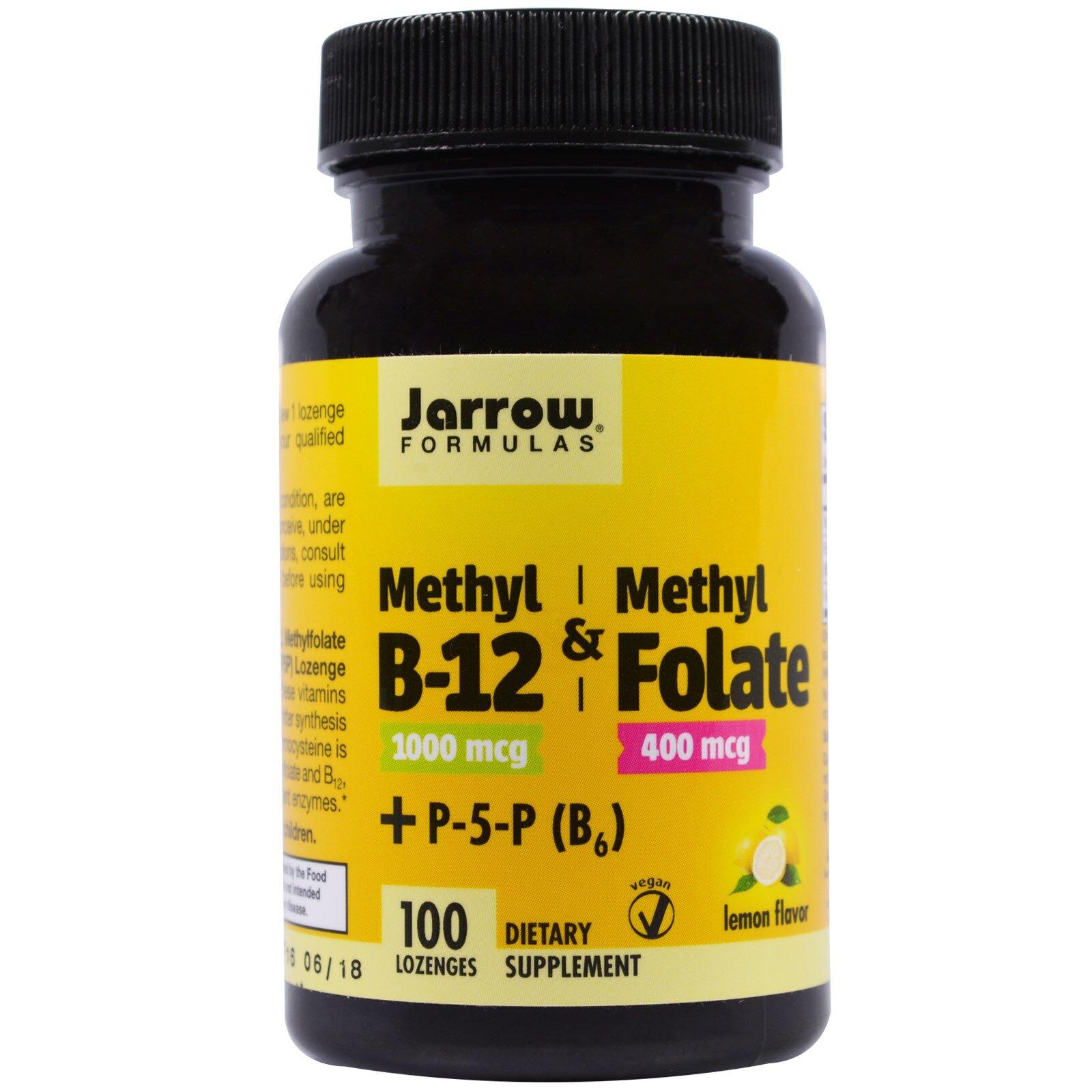 Jarrow Formulas Méthyle B-12 & méthyle acide folique saveur citron 1000 mcg / 400 mcg (100 pastilles) -  Jarrow Formulas