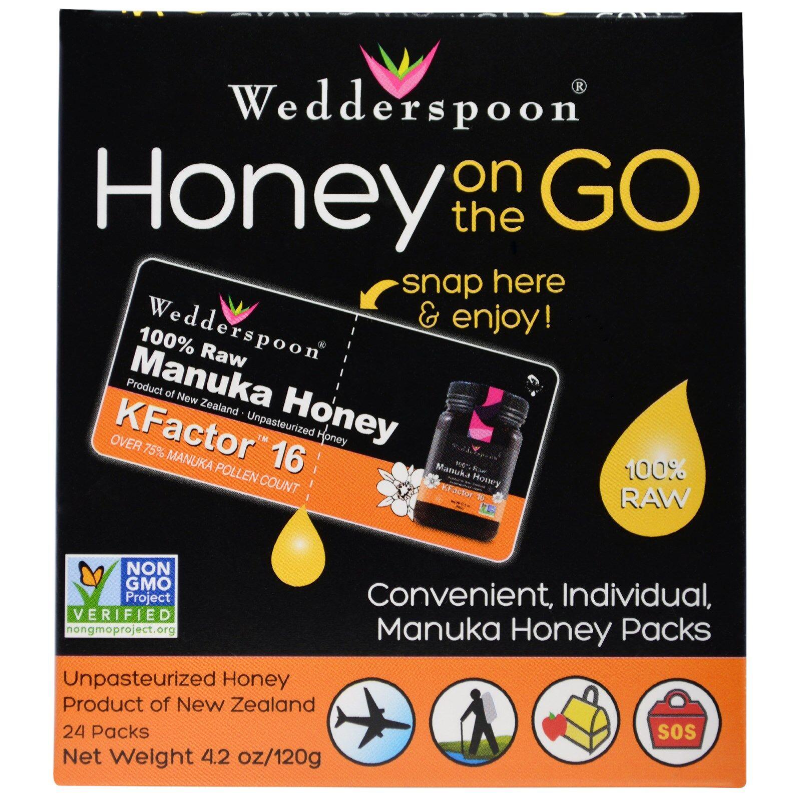 Wedderspoon Organic Honey On The Go KFactor 16 (24 Packs, 5 g Each) - Wedderspoon Organic