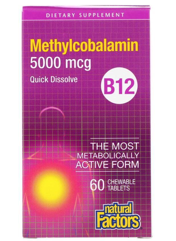 Natural Factors B12- Methylcobalamin- 5000 mcg (60 chewable tablets) - Natural Factors