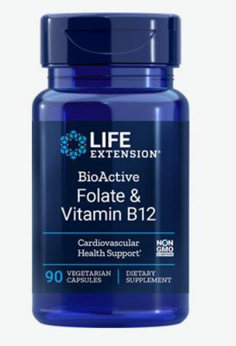 Life Extension BioActive Folate and Vitamin B12 (90 Veggie Capsules) - Life Extension