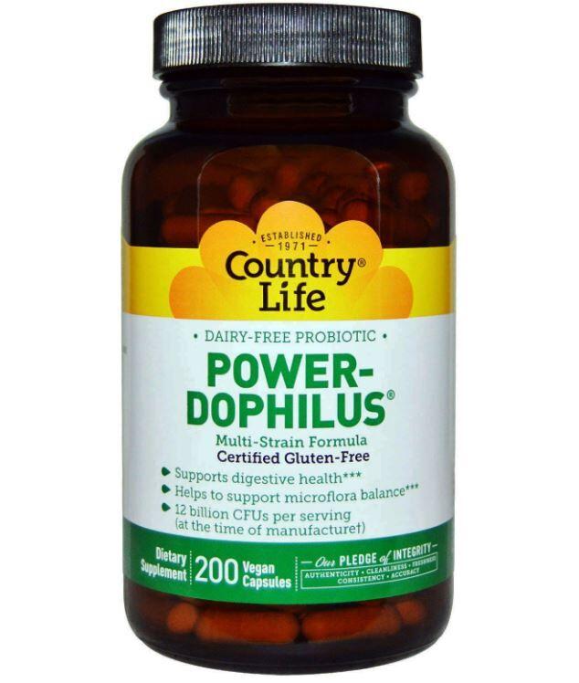 Country Life, Gluten libre, Power-Dophilus, sans lait, 200 Veggie Caps