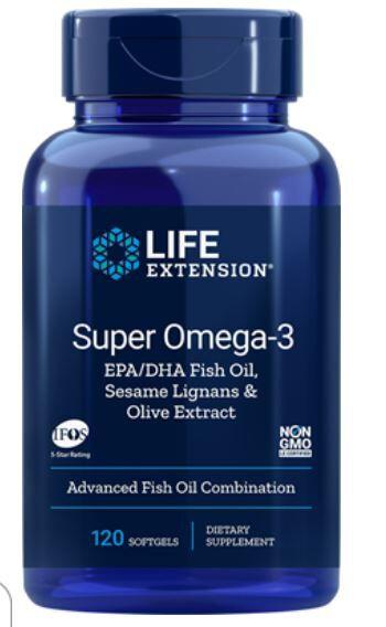 Life Extension, Super oméga-3 EPA/DHA avec sésame Lignans & Olive Fruit Extract, 60 gélules