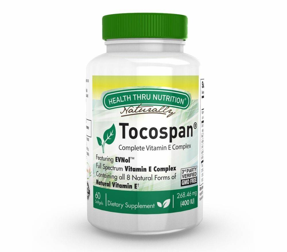 Health Thru Nutrition Tocospan (w/ EVNol) Vitamin E Complex (60 Softgels) - Health Thru Nutrition