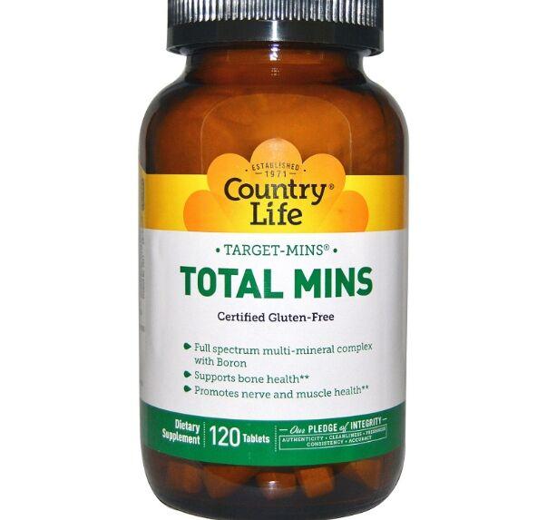 Country Life, sans Gluten, Total Mins, multiminéraux complexe avec du bore, 120 comprimés