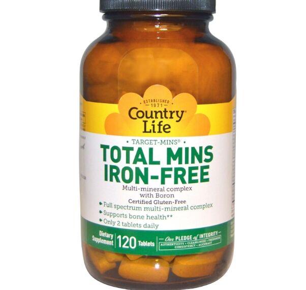 Country Life, sans Gluten, Total Mins sans fer, multiminéraux complexe avec du bore, 120 comprimés