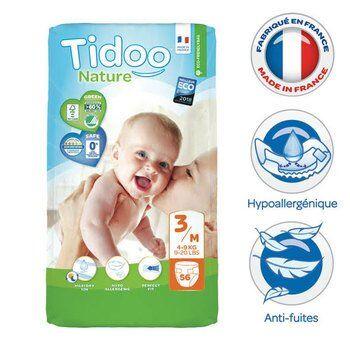 Tidoo 56 couches jetables écologiques 4-9Kg Midi de Tidoo