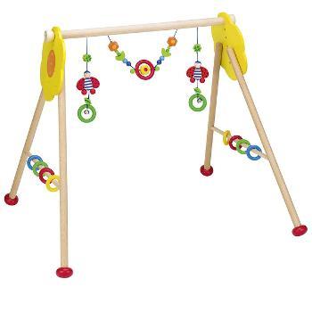 Heimess Portique d'activités bébé, coccinelle et hochet en bois réglable en hauteur