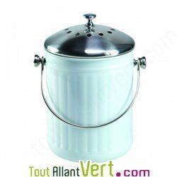 Poubelle à compost blanc anti-odeur pour cuisine, 4 litres écologique