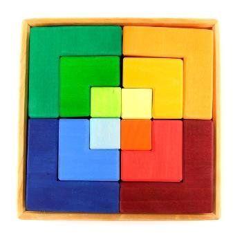 Grimms Jeu de construction créatif en bois multi-couleur, 23 cm, 3 ans+