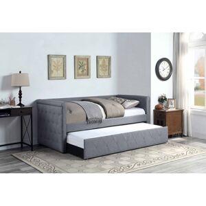 WESTFIELD Lit banquette gigogne chesterfield 2x90x190 en tissu gris cendré MÉLINE - Westfield - Publicité